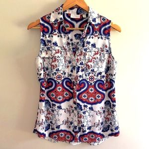 New York & Co women's red, white and blue top S